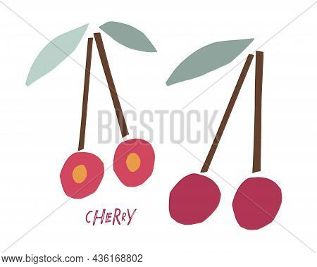 Abstract Red Cherry Fruit With Leaves, Childish Hand Drawn Doodle Sketch Isolated On White Backgroun