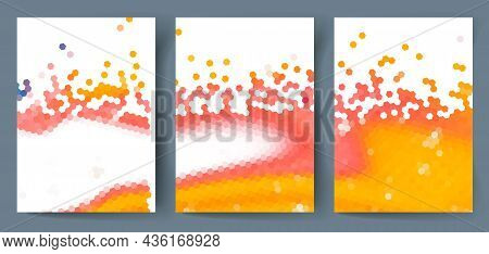 A Set Of Abstract Mosaic Backgrounds With Space For Text. Vector Illustration