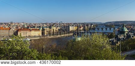 Wide Panoramic Aerial View Of Prague Old Town Architecture Roof Top And Charles Bridge Over Vltava R