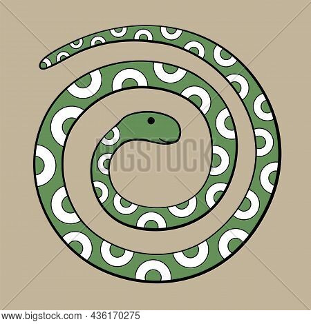 Decorative Abstract Snake Drawing. Vector Flat Illustration.