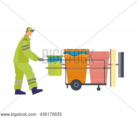 Caretaker In Uniform With Equipment For Streets Cleaning Flat Vector Illustration