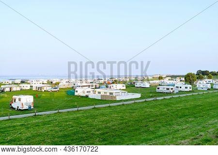 Butjadingen, Germany October 06, 2021: A Caravan Camping Site At The North Sea Resort Of Butjadingen