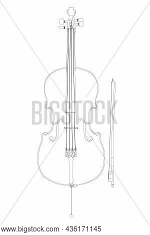 Violin Contour From Black Lines Isolated On White Background. Front View. Vector Illustration