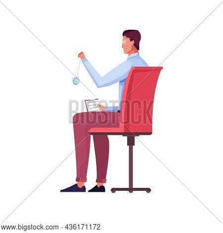 Flat Icon Of Male Psychologist Holding Hypnosis Pendulum Vector Illustration