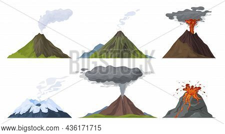 Erupting Volcano Set Vector Flat Illustration. Natural Volcanic Activity With Magma, Smoke, Ashes