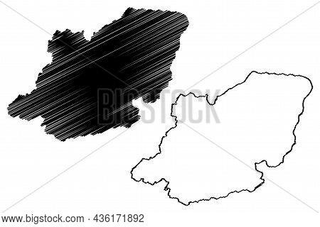 Kupwara District (jammu And Kashmir Union Territory, Republic Of India) Map Vector Illustration, Scr