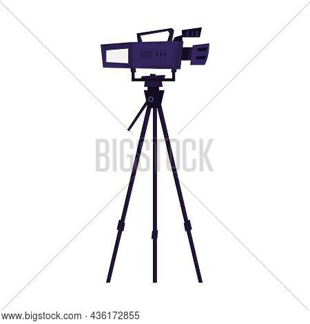 Professional Camera On Tripod Flat Icon Vector Illustration