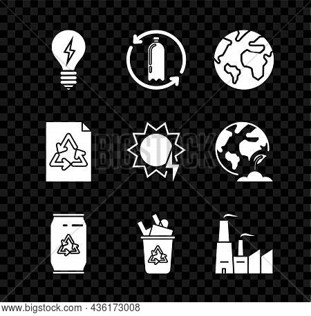 Set Light Bulb With Lightning Symbol, Recycling Plastic Bottle, Earth Globe, Can Recycle And Can, Re