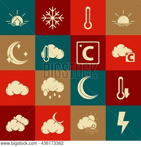 Set Lightning Bolt, Thermometer, Celsius And Cloud, Moon Stars, Sunrise And Icon. Vector