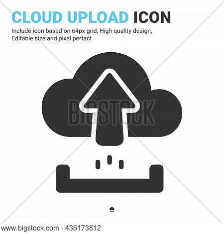 Cloud Upload Icon Vector With Glyph Style Isolated On White Background. Vector Illustration Uploadin