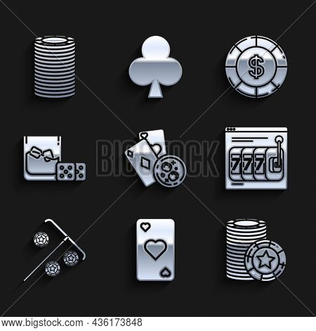 Set Playing Cards And Glass Of Whiskey With Ice Cubes, Heart Symbol, Casino Chips, Online Slot Machi