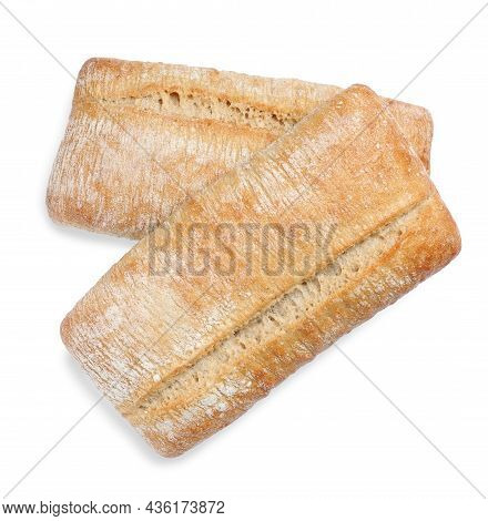Crispy Ciabattas On White Background, Top View. Fresh Bread