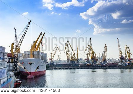 Ukraine, Odessa - August 09, 2013: Sea Cargo Port Of Odessa With Shipyards And Ships In Odessa, Ukra