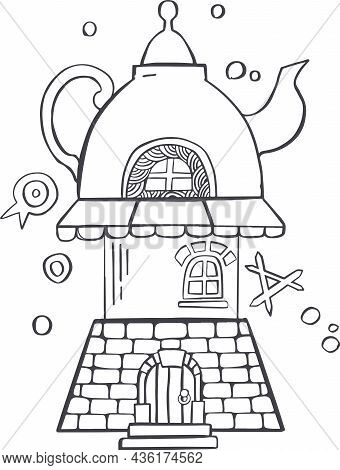 Line, Sketch Cup Of Tea Or Coffee, Tea Party Feast Silhouette Vector