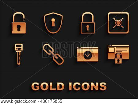 Set Chain Link, Safe, Secure Your Site With Https, Ssl, Key, Lock, Open Padlock And Shield Keyhole I