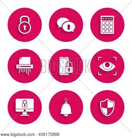 Set Smartphone With Closed Padlock, Ringing Bell, Shield, Eye Scan, Lock Computer Monitor Screen, Pa