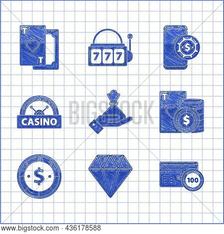 Set Hand Holding Money Bag, Diamond, Credit Card, Casino Chip Playing Cards, With Dollar, Signboard,