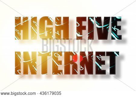 Word Illuminated Keyboard High Five Internet Inscription Letters. Word Made Up Of Letters Keyboard.
