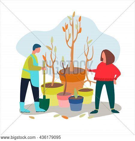 People Planting Tree Seedlings Vector Illustration. Autumn Working Concept. Tree Seedlings Sales Adv