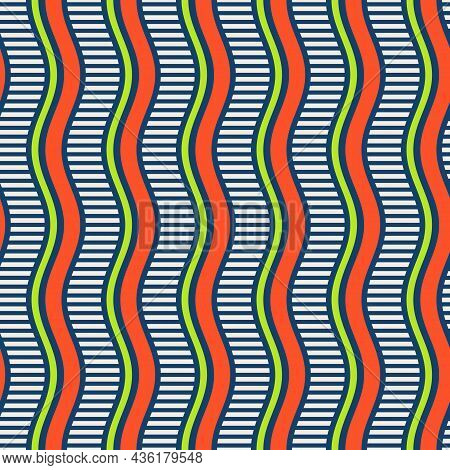 Seamless African Fashion Striped Vector Pattern. Wavy Striped Lines, Stripes. Orange, Green, White,