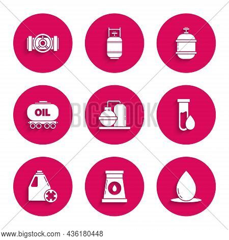 Set Oil And Gas Industrial Factory Building, Drop, Petrol Test Tube, Antifreeze Canister, Railway Ci