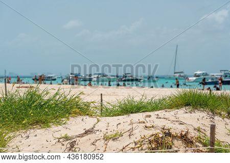 Beautiful Caribbean Beach Playa Norte Or North Beach On The Isla Mujeres Near Cancun, Mexico