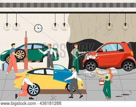 Car Wash, Tires, Repairs, Auto Mechanic And Maintenance Service, Flat Vector Illustration. Automobil