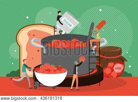People Cooking Tasty Dessert, Handmade Food Strawberry Jam In Large Pan, Flat Vector Illustration. F