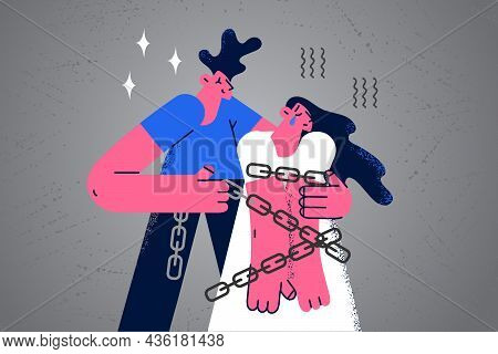 Abuse And Harassment Victim Concept. Young Couple Man And Woman In Ropes Standing As Victim Of Haras