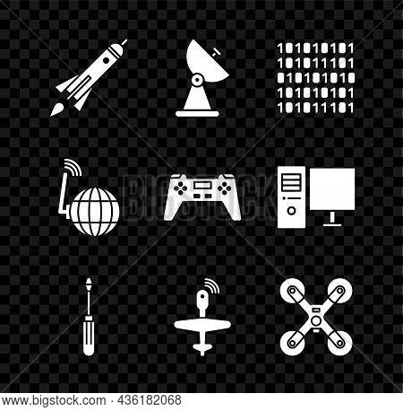 Set Rocket Ship With Fire, Radar, Binary Code, Screwdriver, Uav Drone, Flying, Social Network And Ga