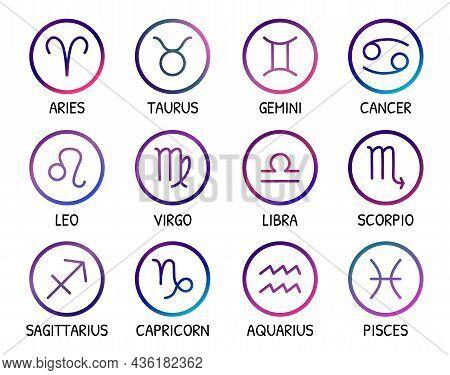 Zodiac Signs. Vector Icons Set. Zodiac Symbols Bright Gradient Trendy Design. Astrological Elements