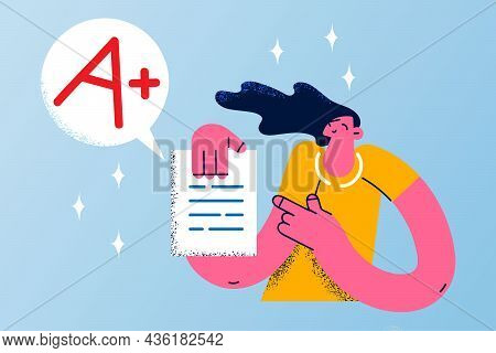 Perfect Education Marks Success Concept. Smiling Happy Girl Cartoon Character Standing Holding Docum