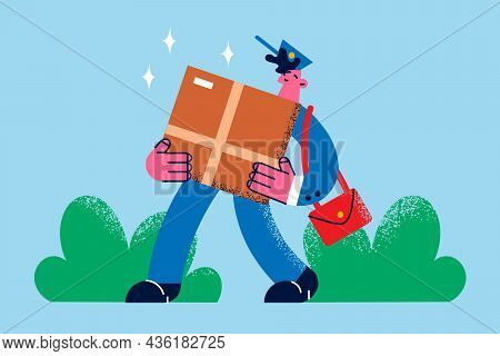 Post Office Delivery Services Concept. Young Smiling Man Delivery Person Postman Cartoon Character C