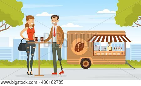 Smiling Man With Artificial Limb Drinking Coffee With Woman Friend Vector Illustration