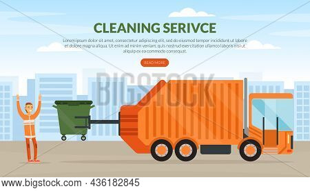 Cleaning Service Landing Page With Man Waste Collector Or Garbageman In Orange Uniform Collecting Mu