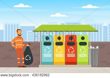 Bearded Man Waste Collector Or Garbageman In Orange Uniform Collecting Municipal Solid Waste And Rec
