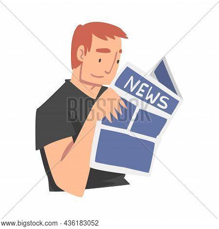 Man Character Gathering News Reading Newspaper Vector Illustration