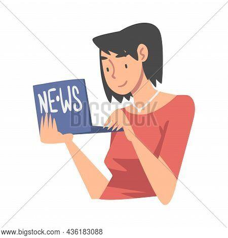 Woman Character Gathering News Using Laptop Vector Illustration