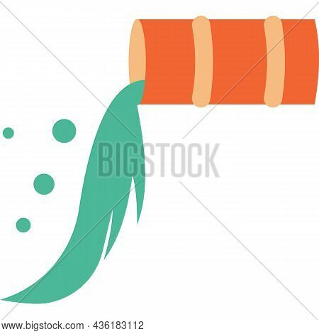 Emission And Water Pollution Vector Flat Icon
