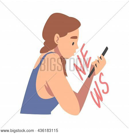 Woman Character Gathering News Reading Article On Smartphone Vector Illustration