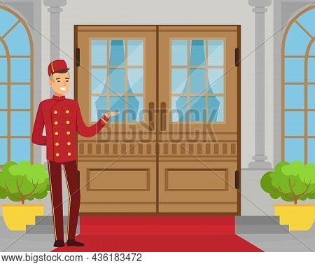 Man Porter Or Doorman As Hotel Staff In Uniform Standing Near Entrance Accepting Visitors Vector Ill