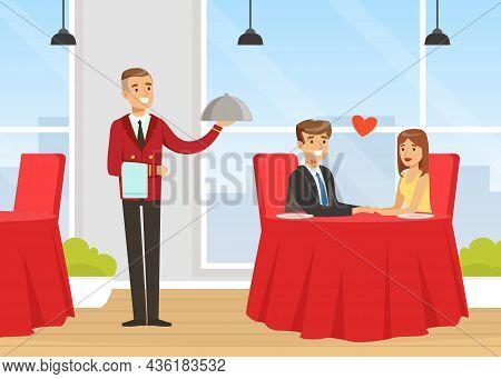 Man Waiter As Hotel Staff In Uniform Serving Dish For Visitor In Restaurant Vector Illustration