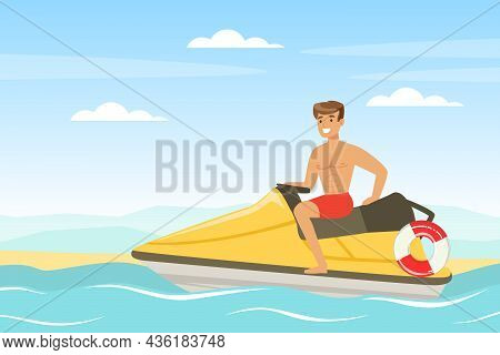 Young Man Lifeguard On Water Scooter Supervising Safety Vector Illustration