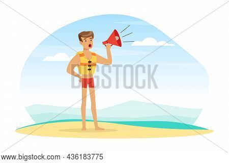 Young Man Lifeguard In Sea Vest Shouting In Megaphone Supervising Safety Vector Illustration