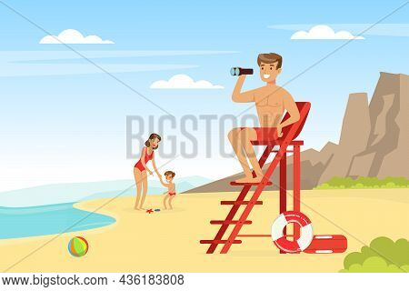 Young Man And Woman Lifeguard On Ladder With Binoculars Supervising Safety Vector Illustration