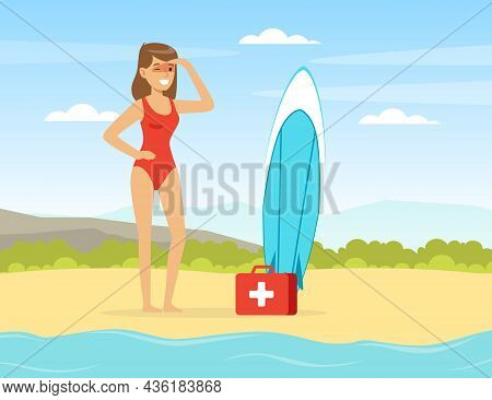 Young Woman Lifeguard On Sandy Beach Supervising Safety Vector Illustration