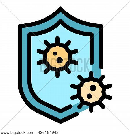 Shield Infection Icon. Outline Shield Infection Vector Icon Color Flat Isolated