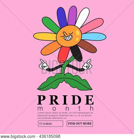 Smiling Cheerful Camomile Flower With Rainbow Colored Petals. Creative Lgbtq Or Pride Month Web Or A