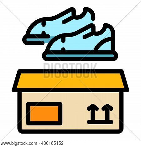 Donate Shoes Icon. Outline Donate Shoes Vector Icon Color Flat Isolated
