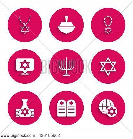 Set Hanukkah Menorah, Tombstone With Star Of David, World Globe And Israel, Star David, Jewish Money